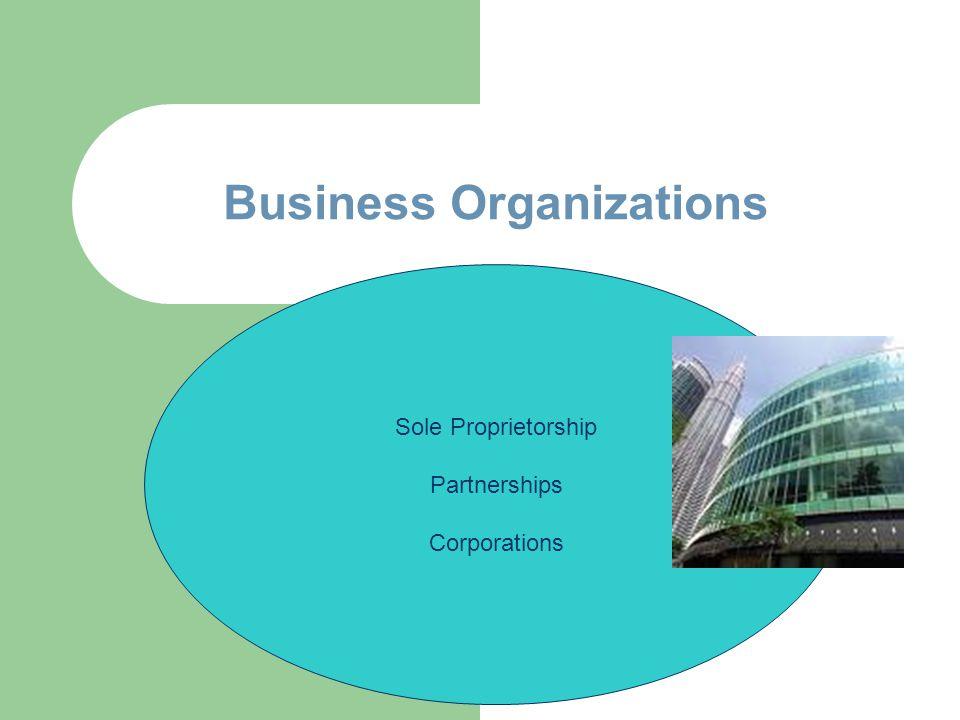 Business Organizations Sole Proprietorship Partnerships Corporations