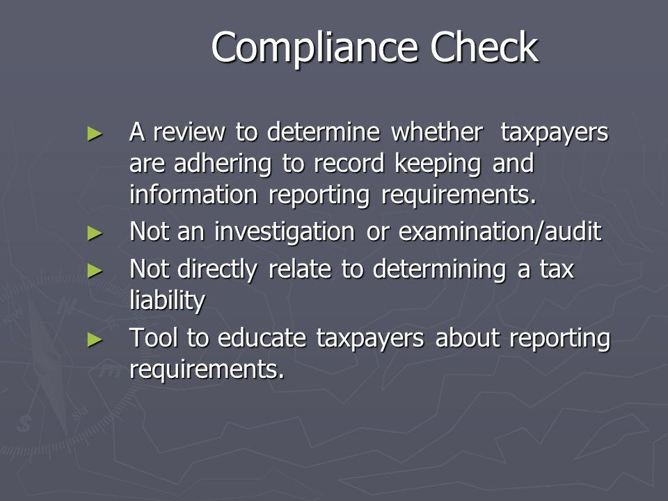 Compliance Check vs. Examination