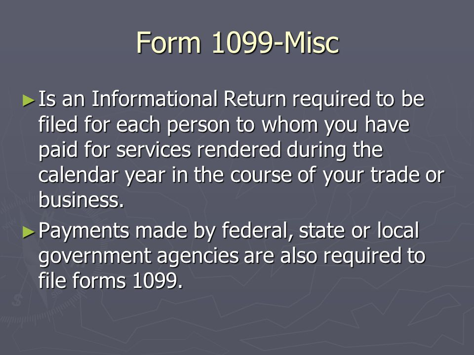 Form 1099-Misc. Requirements and Filing