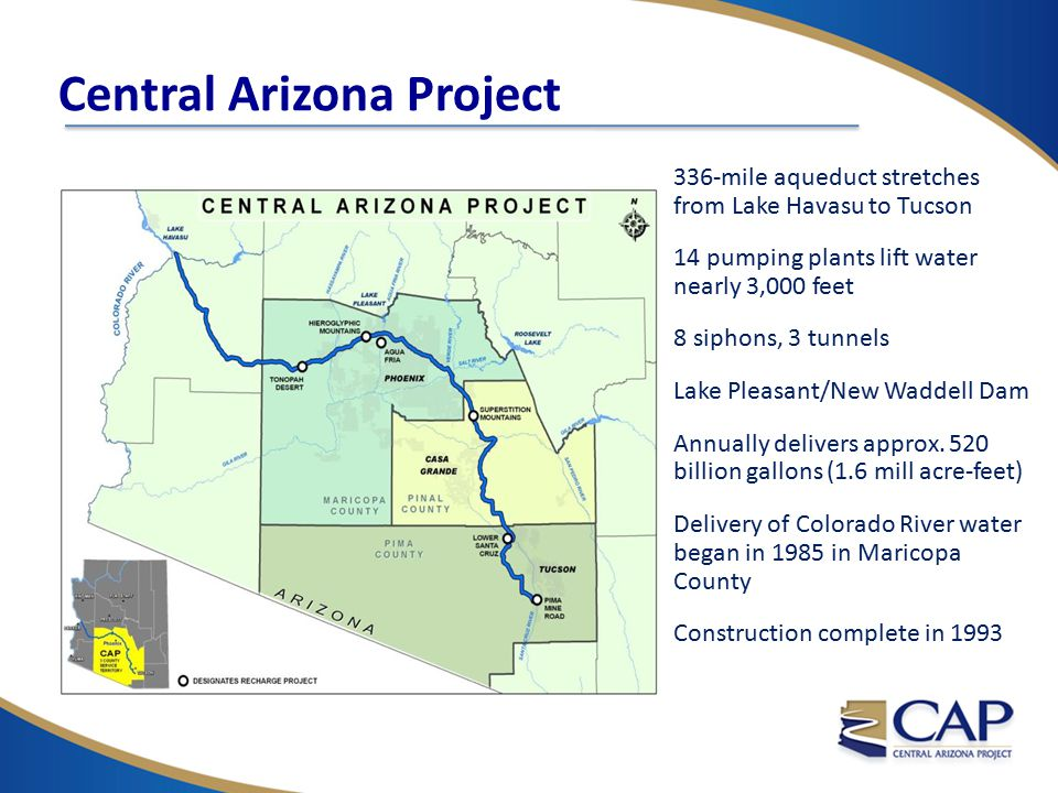 336-mile aqueduct stretches from Lake Havasu to Tucson 14 pumping plants lift water nearly 3,000 feet 8 siphons, 3 tunnels Lake Pleasant/New Waddell D