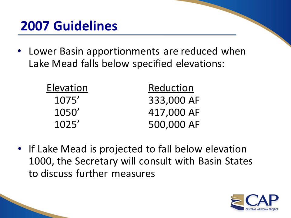 2007 Guidelines Lower Basin apportionments are reduced when Lake Mead falls below specified elevations: Elevation Reduction 1075' 333,000 AF 1050' 417