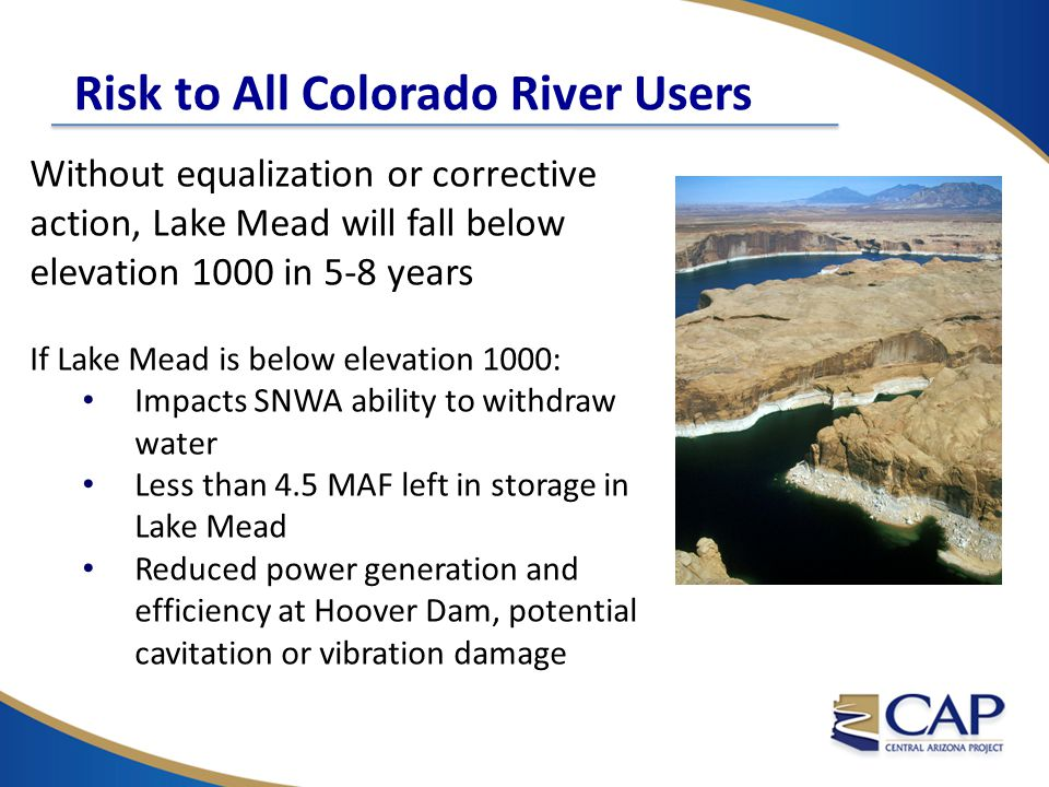 Risk to All Colorado River Users Without equalization or corrective action, Lake Mead will fall below elevation 1000 in 5-8 years If Lake Mead is belo