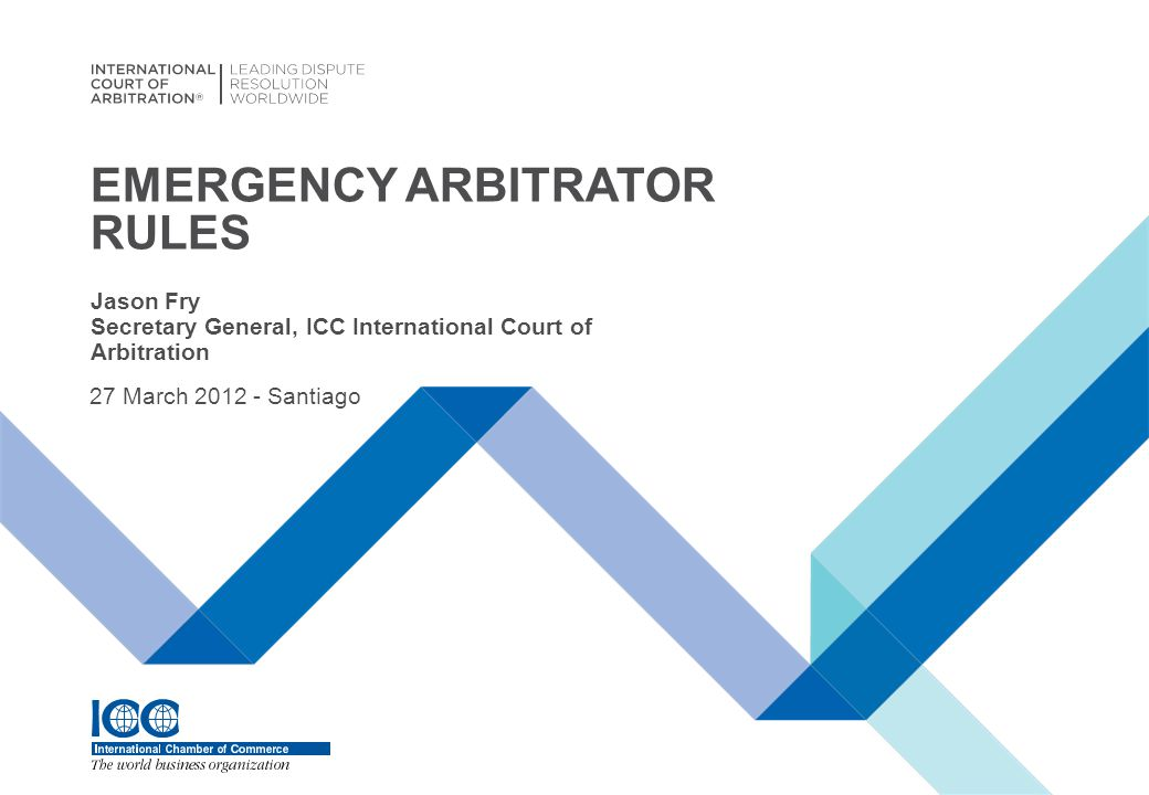 INTERNATIONAL COURT OF ARBITRATION® EA rules: ICCpre-arbitral referee rules 1990 ICDRArticle 37 ICDR Rules1 May 2006 SCCEmergency Arbitrator Rules1 January 2010 SIACEmergency Arbitrator Rules1 July 2010 ACICAEmergency Arbitrator Rules1 August 2011 ICCEmergency Arbitrator Rules1 January 2012 WHAT ARE THE VARIOUS EA RULES AVAILABLE.