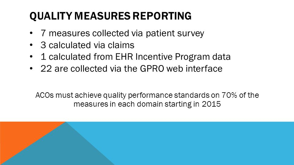 QUALITY MEASURES REPORTING 7 measures collected via patient survey 3 calculated via claims 1 calculated from EHR Incentive Program data 22 are collected via the GPRO web interface ACOs must achieve quality performance standards on 70% of the measures in each domain starting in 2015