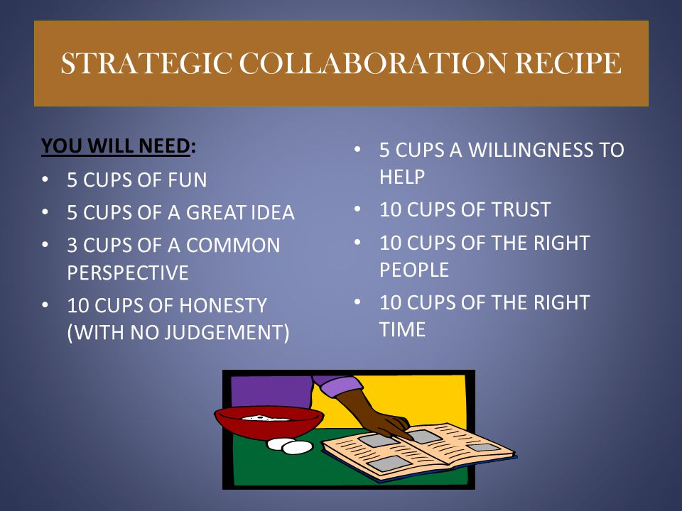 STRATEGIC COLLABORATION RECIPE YOU WILL NEED: 5 CUPS OF FUN 5 CUPS OF A GREAT IDEA 3 CUPS OF A COMMON PERSPECTIVE 10 CUPS OF HONESTY (WITH NO JUDGEMENT) 5 CUPS A WILLINGNESS TO HELP 10 CUPS OF TRUST 10 CUPS OF THE RIGHT PEOPLE 10 CUPS OF THE RIGHT TIME