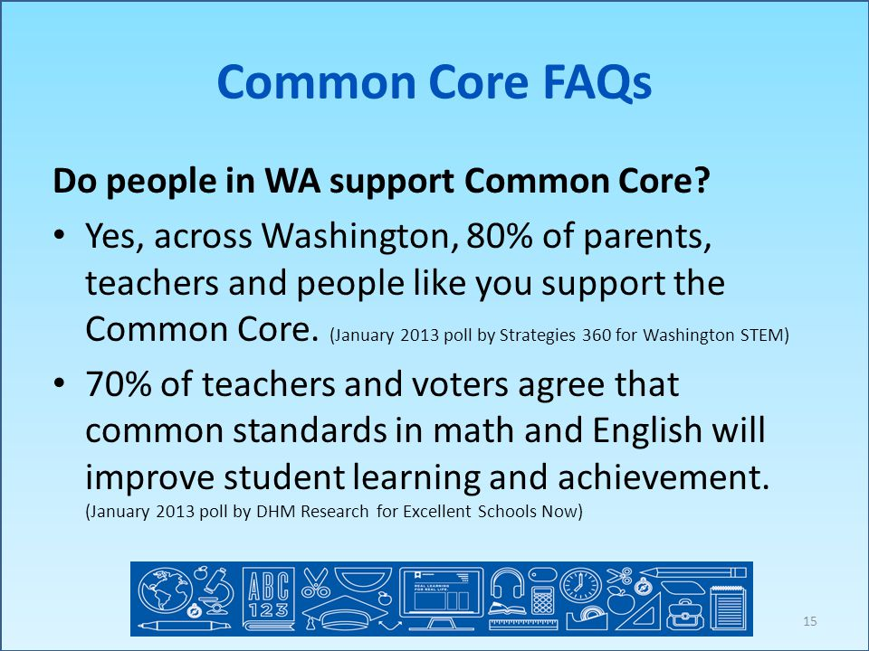 Common Core FAQs Do people in WA support Common Core.