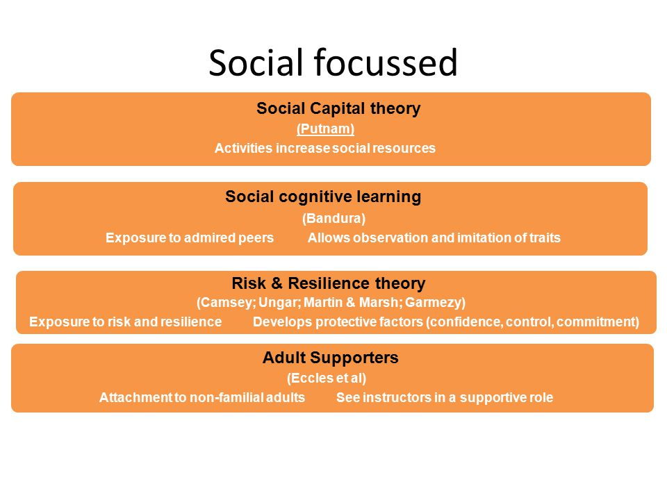 Social focussed (Putnam) Activities increase social resources Social Capital theory (Bandura) Exposure to admired peers Allows observation and imitation of traits Social cognitive learning (Camsey; Ungar; Martin & Marsh; Garmezy) Exposure to risk and resilience Develops protective factors (confidence, control, commitment) Risk & Resilience theory (Eccles et al) Attachment to non-familial adults See instructors in a supportive role Adult Supporters