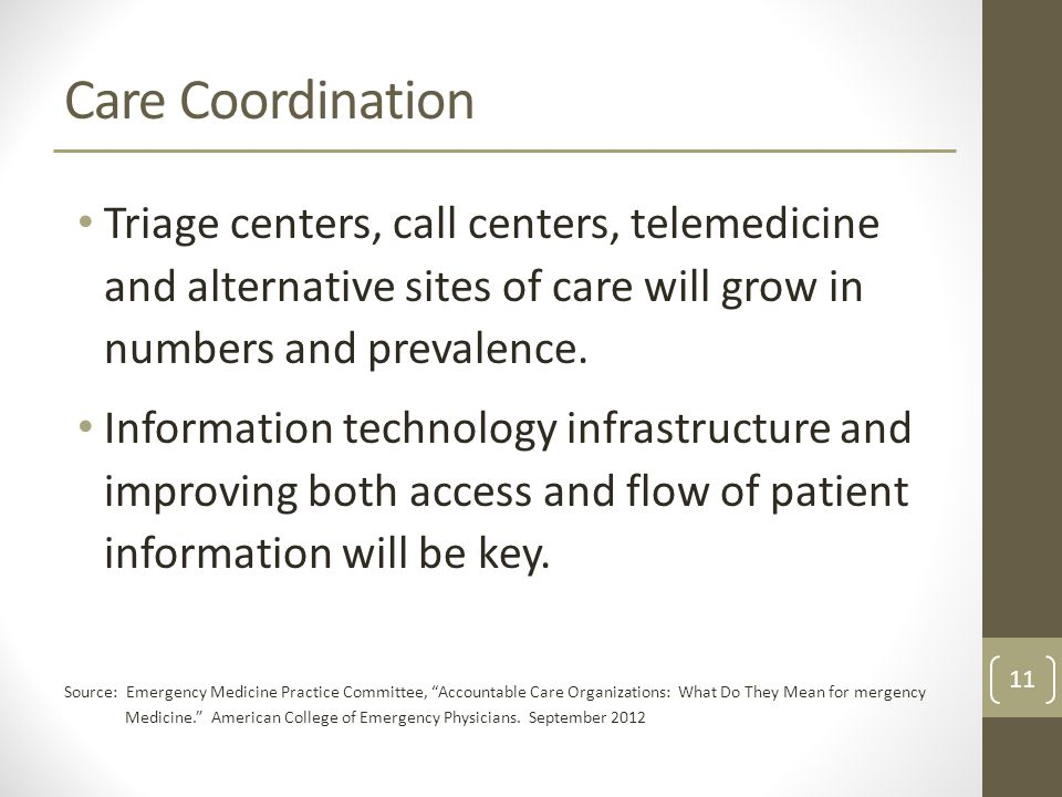 Care Coordination Triage centers, call centers, telemedicine and alternative sites of care will grow in numbers and prevalence.