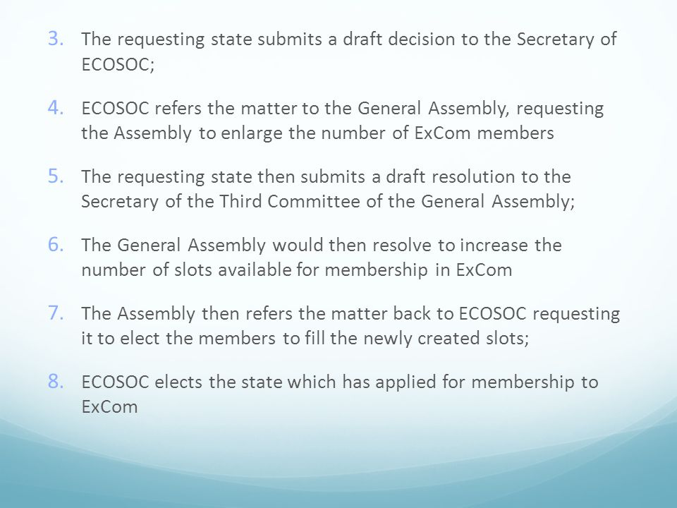 3.The requesting state submits a draft decision to the Secretary of ECOSOC; 4.
