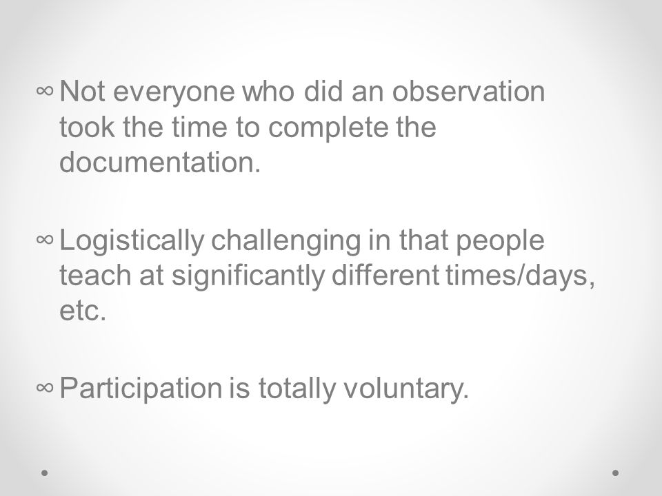 ∞Not everyone who did an observation took the time to complete the documentation.