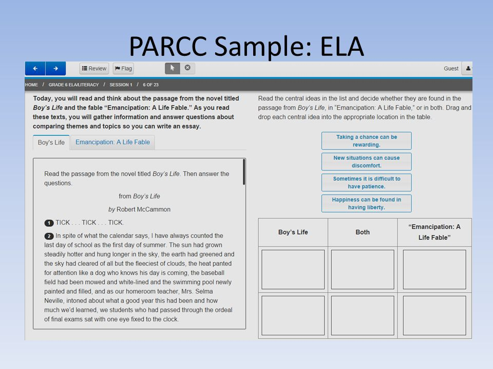 PARCC Sample: ELA