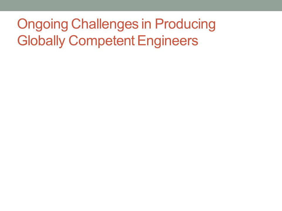 Ongoing Challenges in Producing Globally Competent Engineers