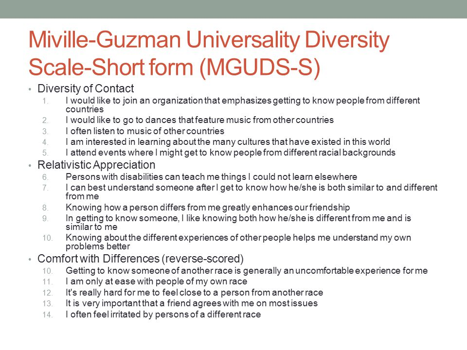Miville-Guzman Universality Diversity Scale-Short form (MGUDS-S) Diversity of Contact 1.
