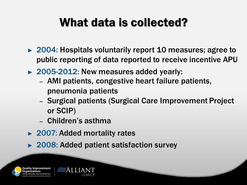 What data is collected? ► 2004: Hospitals voluntarily report 10 measures; agree to public reporting of data reported to receive incentive APU ► 2005-2