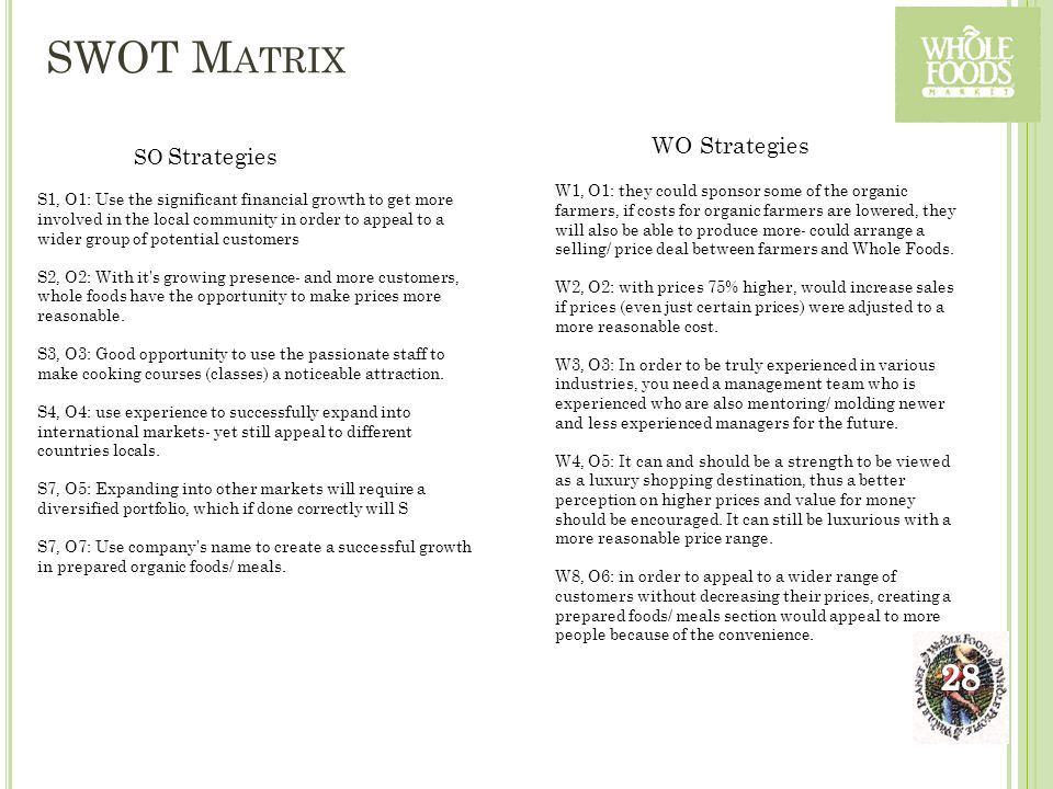SWOT M ATRIX S1, O1: Use the significant financial growth to get more involved in the local community in order to appeal to a wider group of potential