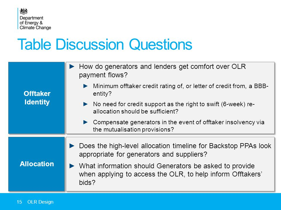 Table Discussion Questions 15OLR Design ►Does the high-level allocation timeline for Backstop PPAs look appropriate for generators and suppliers.