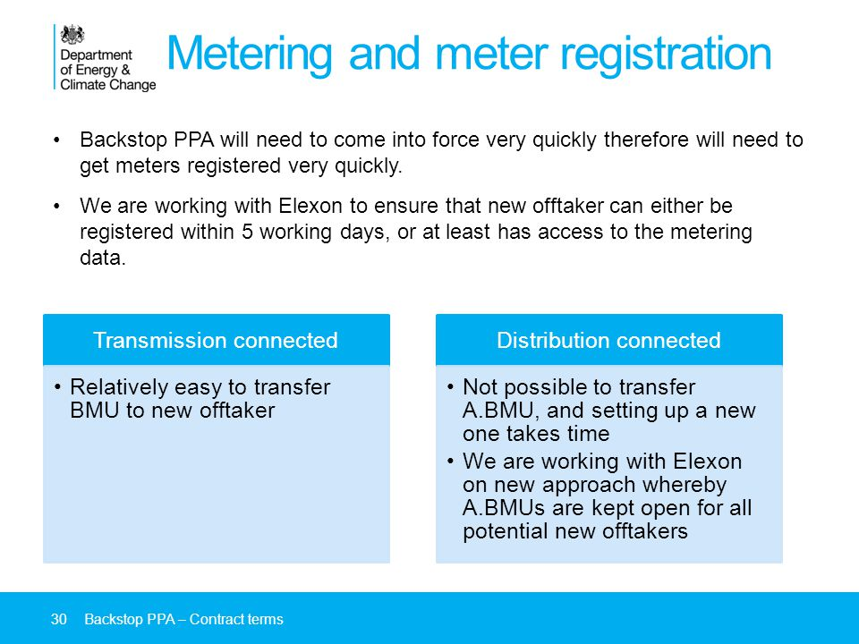 Metering and meter registration Backstop PPA will need to come into force very quickly therefore will need to get meters registered very quickly.