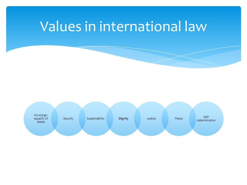 Sovereign equality of states SecuritySustainabilityDignityJusticePeace Self- determination Values in international law
