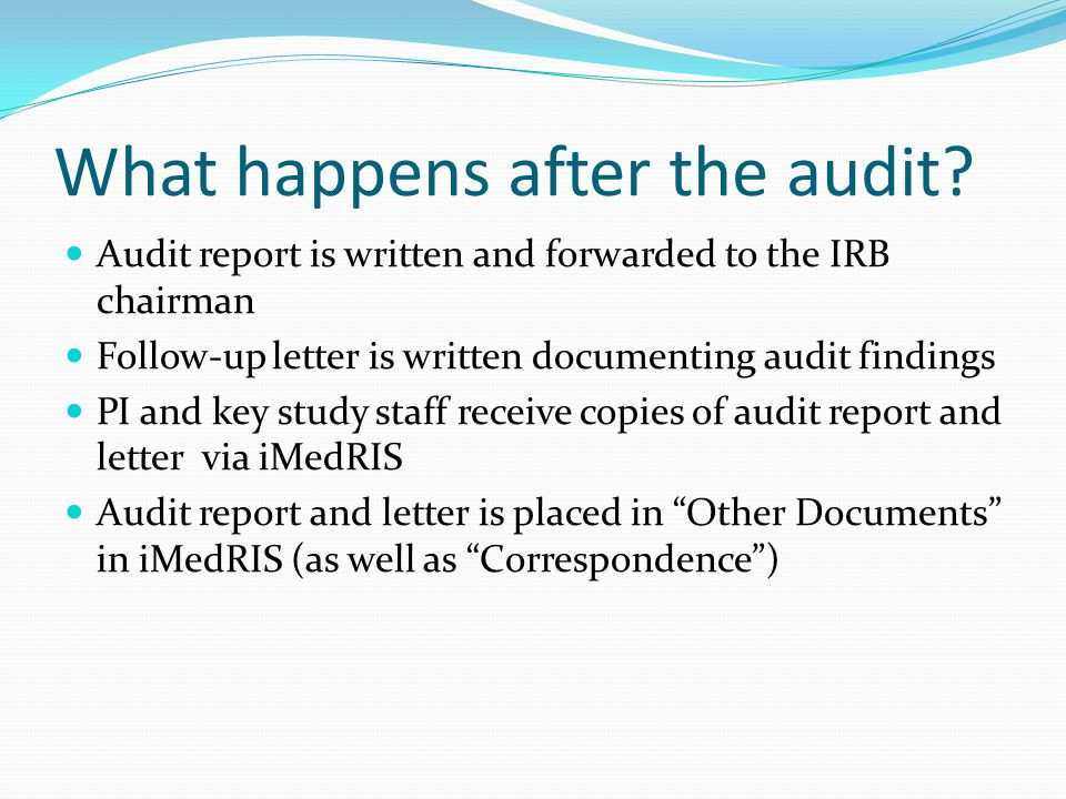 Regulatory Documents Regulatory documents are reviewed for continuity, changes in study procedures, amendments/changes that should be submitted to the IRB, study staff responsibilities/assignments, study staff training, investigator CVs, and evidence of PI oversight.