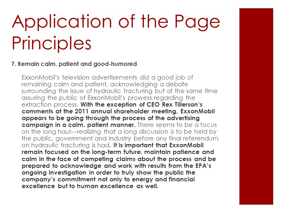 Application of the Page Principles 7.