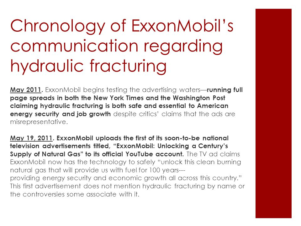Chronology of ExxonMobil's communication regarding hydraulic fracturing May 2011.