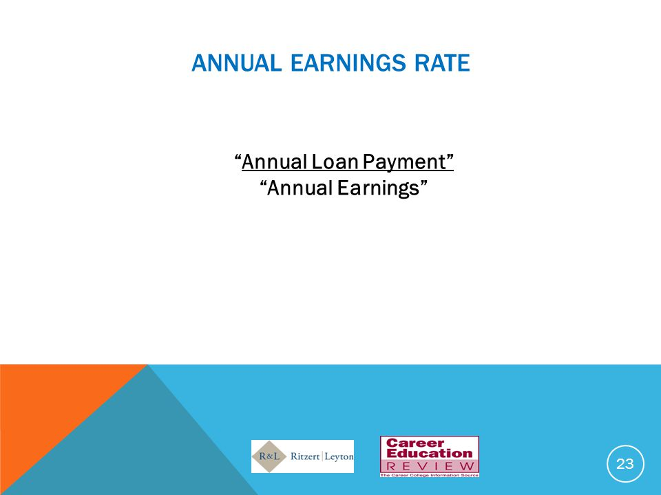 ANNUAL EARNINGS RATE Annual Loan Payment Annual Earnings 23