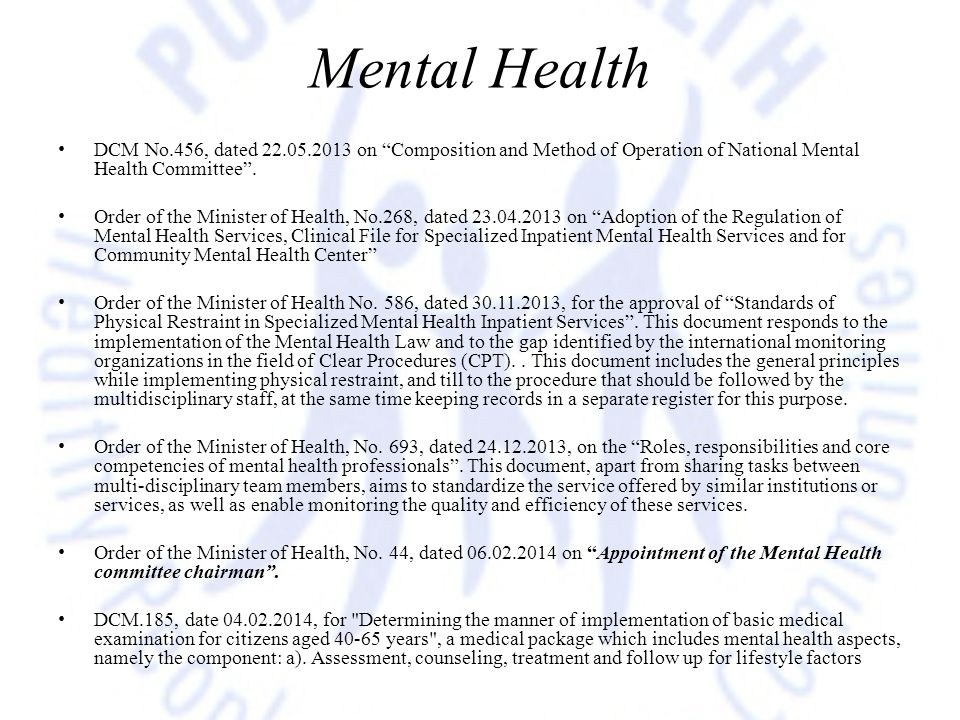 Mental Health DCM No.456, dated 22.05.2013 on Composition and Method of Operation of National Mental Health Committee .