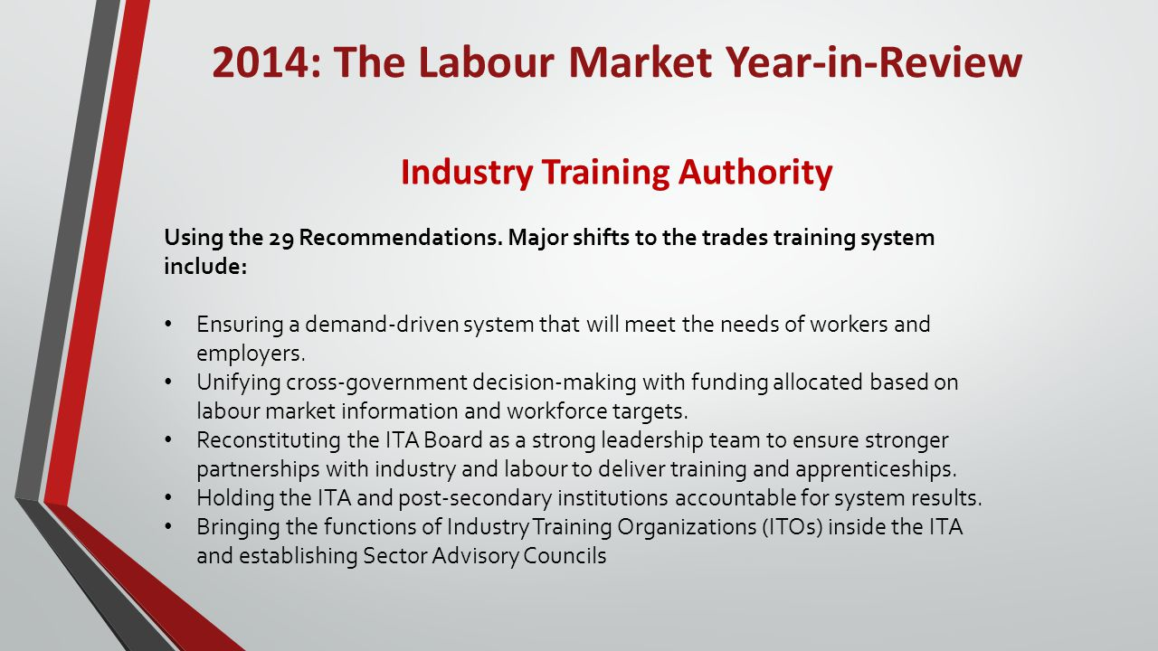 2014: The Labour Market Year-in-Review Industry Training Authority Using the 29 Recommendations.