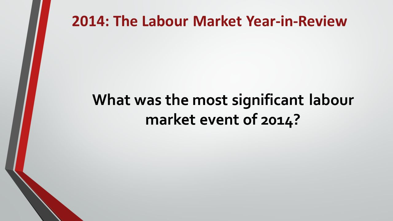 2014: The Labour Market Year-in-Review Tourism Fastest Growing Sub-Sectors