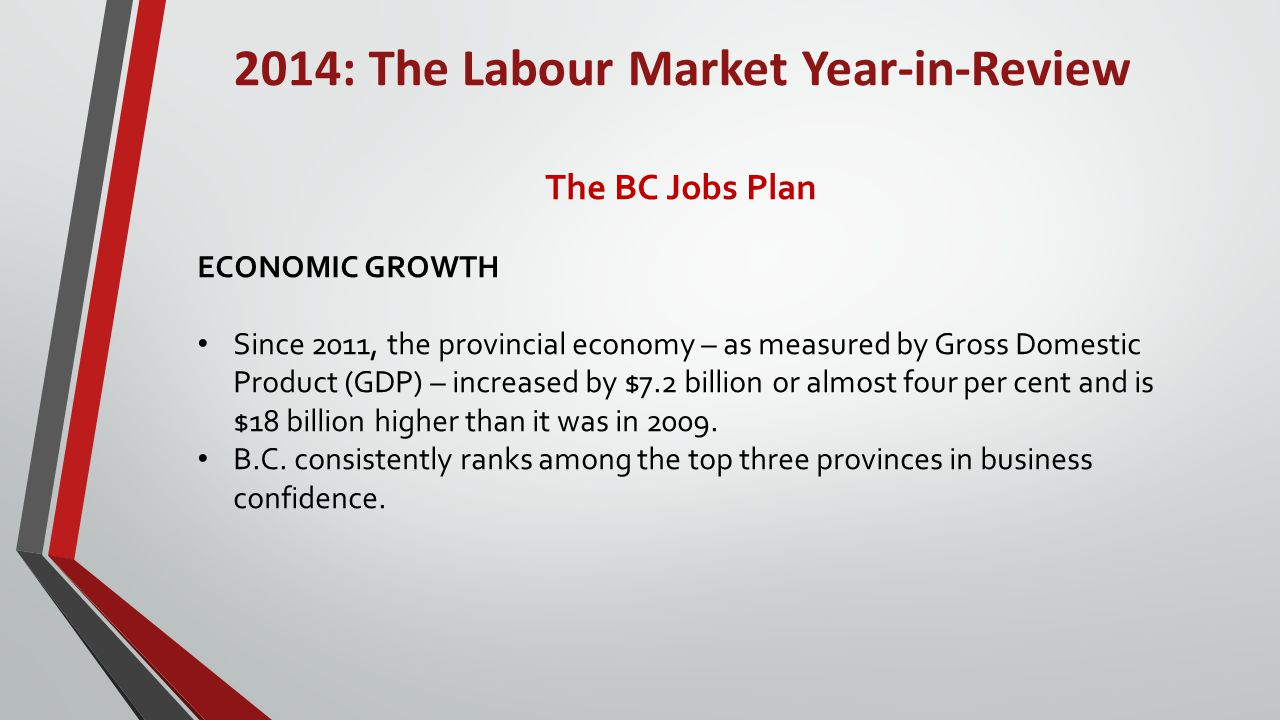 2014: The Labour Market Year-in-Review The BC Jobs Plan GOODS EXPORTS In 2013 B.C.'s international commodity exports were valued at $33.4 billion, having largely regained the value seen prior to the world economic recession in 2009.