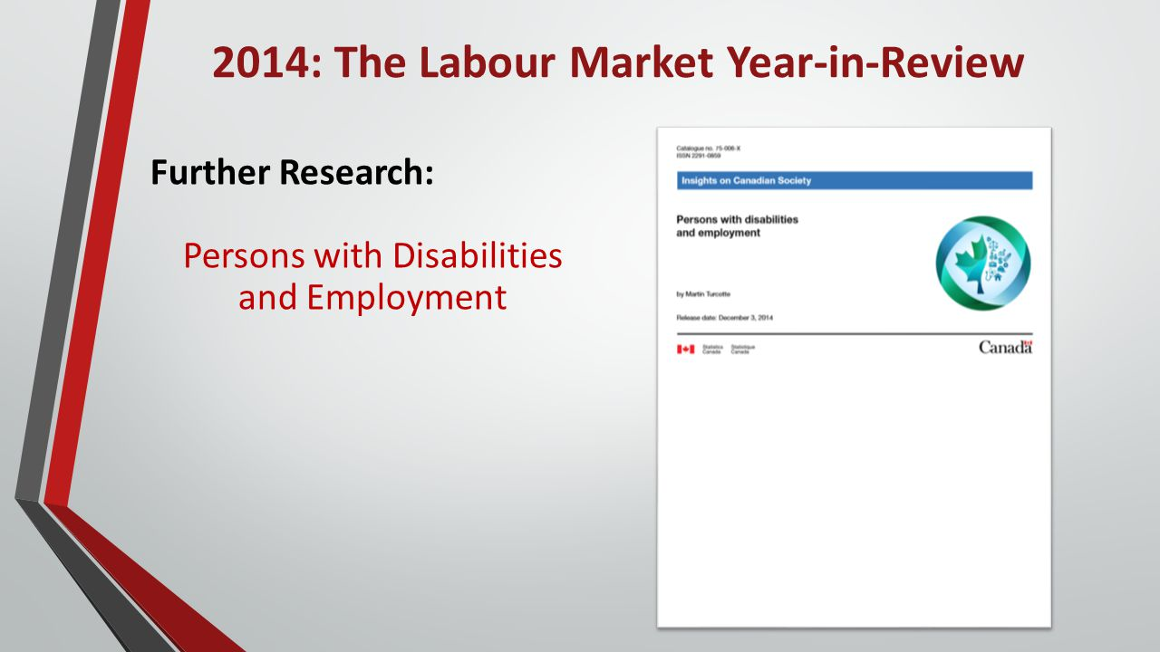2014: The Labour Market Year-in-Review Further Research: Persons with Disabilities and Employment