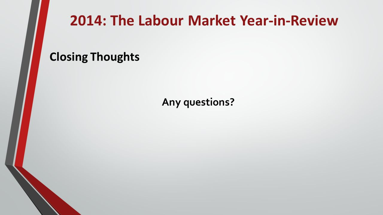 2014: The Labour Market Year-in-Review Closing Thoughts Any questions
