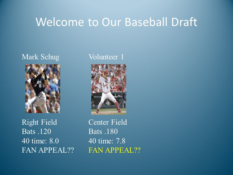 Welcome to Our Baseball Draft Mark Schug Right Field Bats.120 40 time: 8.0 FAN APPEAL .