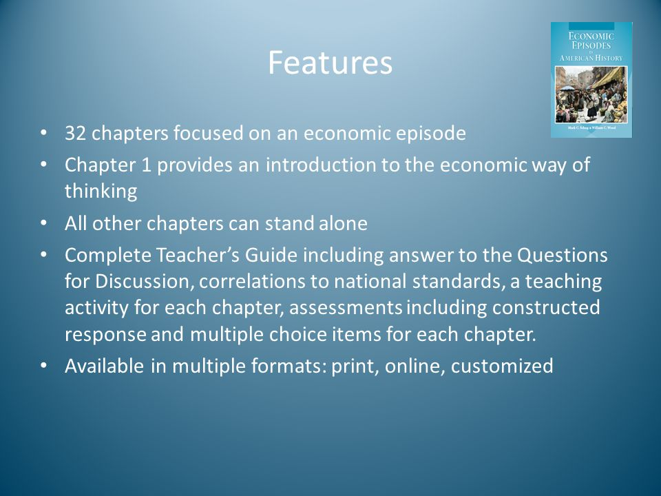Features 32 chapters focused on an economic episode Chapter 1 provides an introduction to the economic way of thinking All other chapters can stand alone Complete Teacher's Guide including answer to the Questions for Discussion, correlations to national standards, a teaching activity for each chapter, assessments including constructed response and multiple choice items for each chapter.