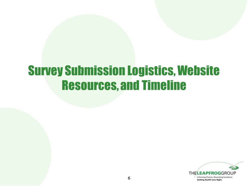 66 Survey Submission Logistics, Website Resources, and Timeline