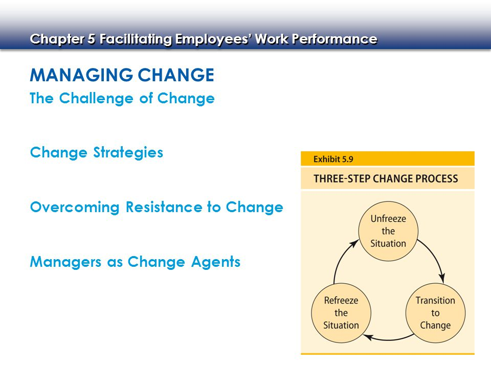 MANAGING CHANGE The Challenge of Change Change Strategies Overcoming Resistance to Change Managers as Change Agents