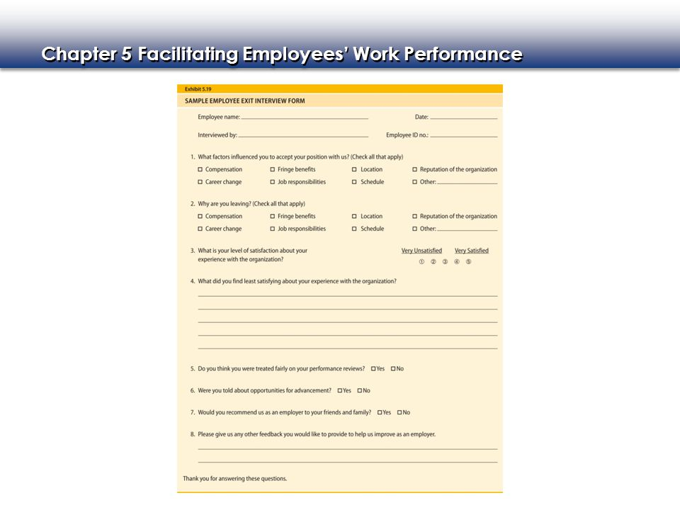Chapter 5 Facilitating Employees' Work Performance