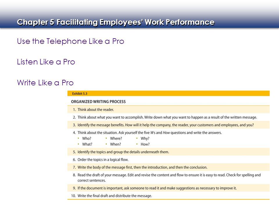 Chapter 5 Facilitating Employees' Work Performance Use the Telephone Like a Pro Listen Like a Pro Write Like a Pro