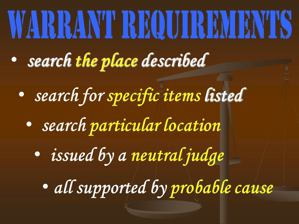 listed search for specific items listed search the place described search particular location issued by a neutral judge all supported by probable caus
