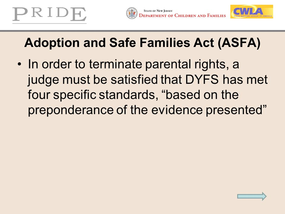 """Adoption and Safe Families Act (ASFA) In order to terminate parental rights, a judge must be satisfied that DYFS has met four specific standards, """"bas"""