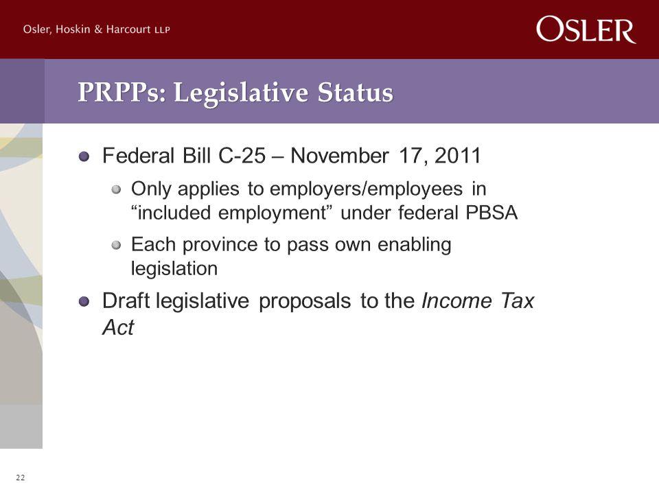 PRPPs: Legislative Status 22