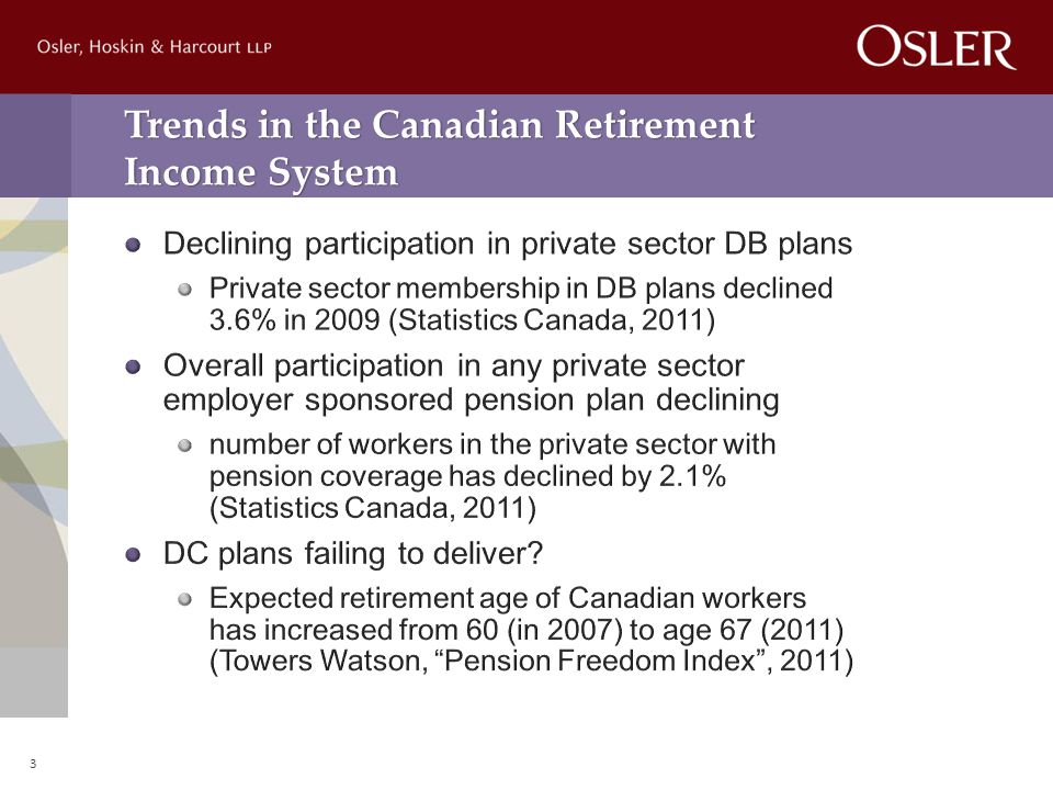 Trends in the Canadian Retirement Income System 3