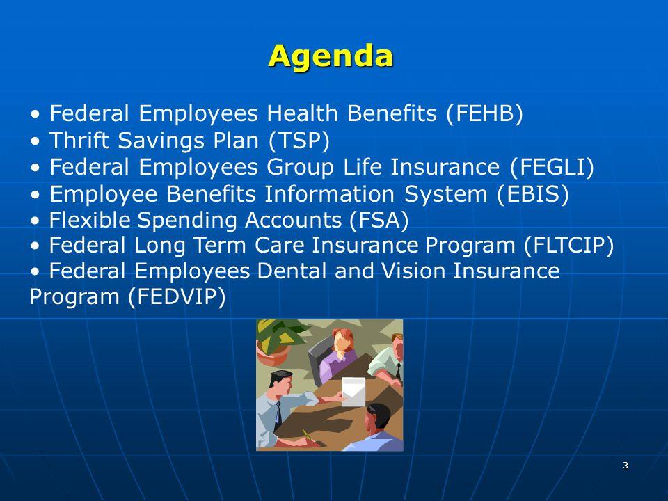 3 Agenda Federal Employees Health Benefits (FEHB) Thrift Savings Plan (TSP) Federal Employees Group Life Insurance (FEGLI) Employee Benefits Informati
