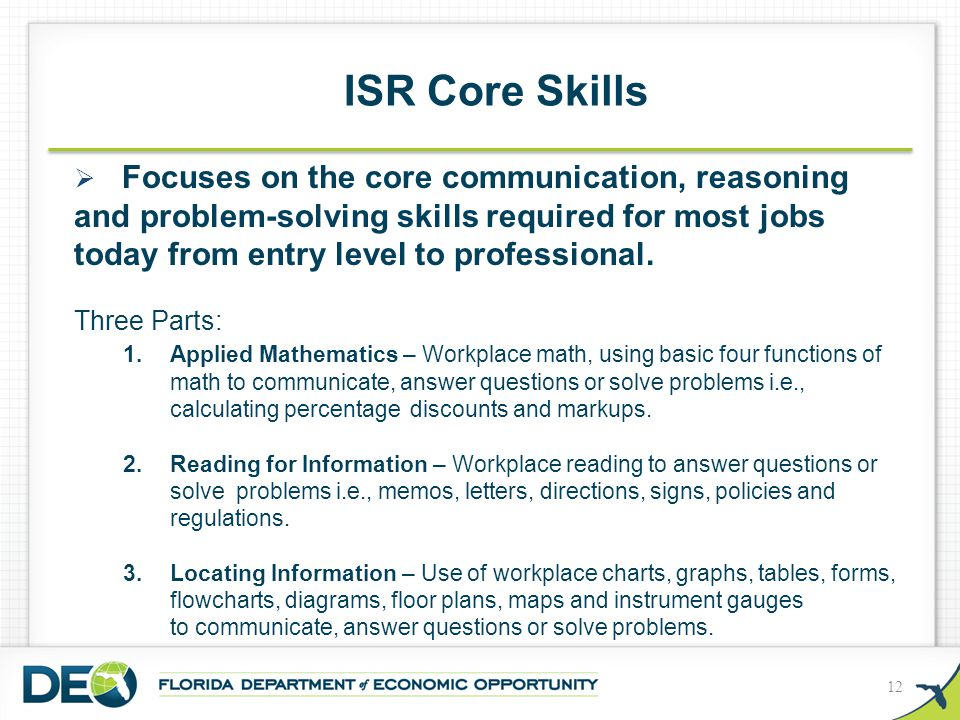  Focuses on the core communication, reasoning and problem-solving skills required for most jobs today from entry level to professional. Three Parts: