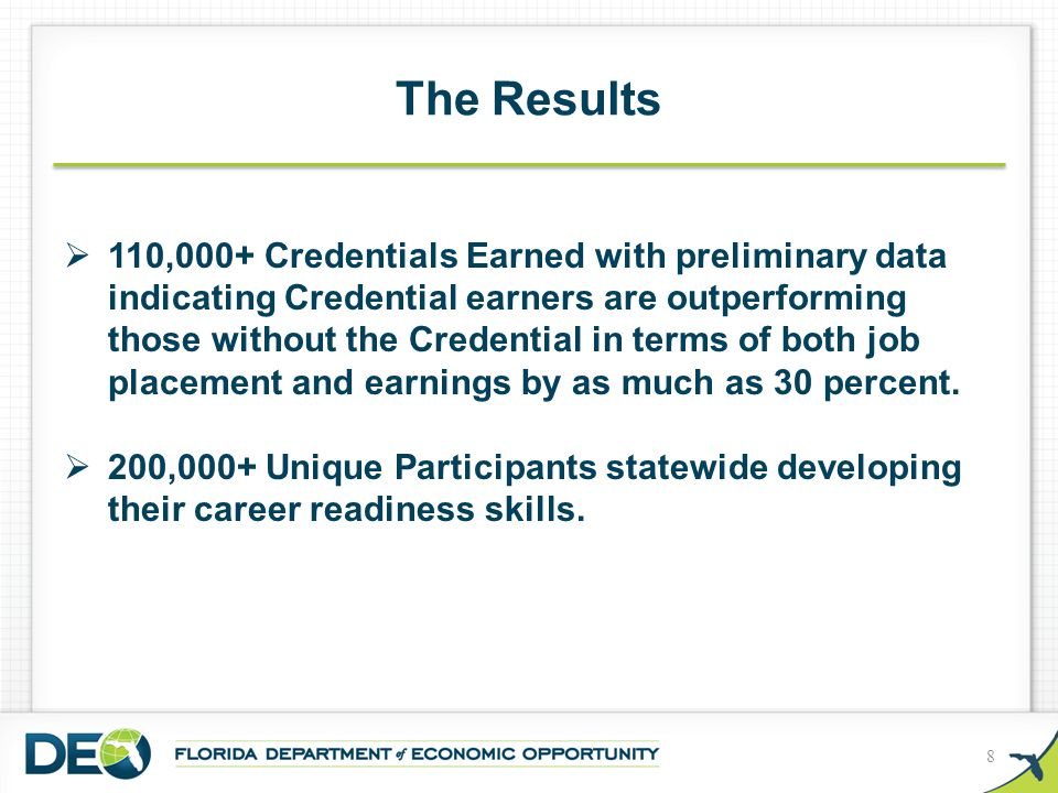 The Results 8  110,000+ Credentials Earned with preliminary data indicating Credential earners are outperforming those without the Credential in term