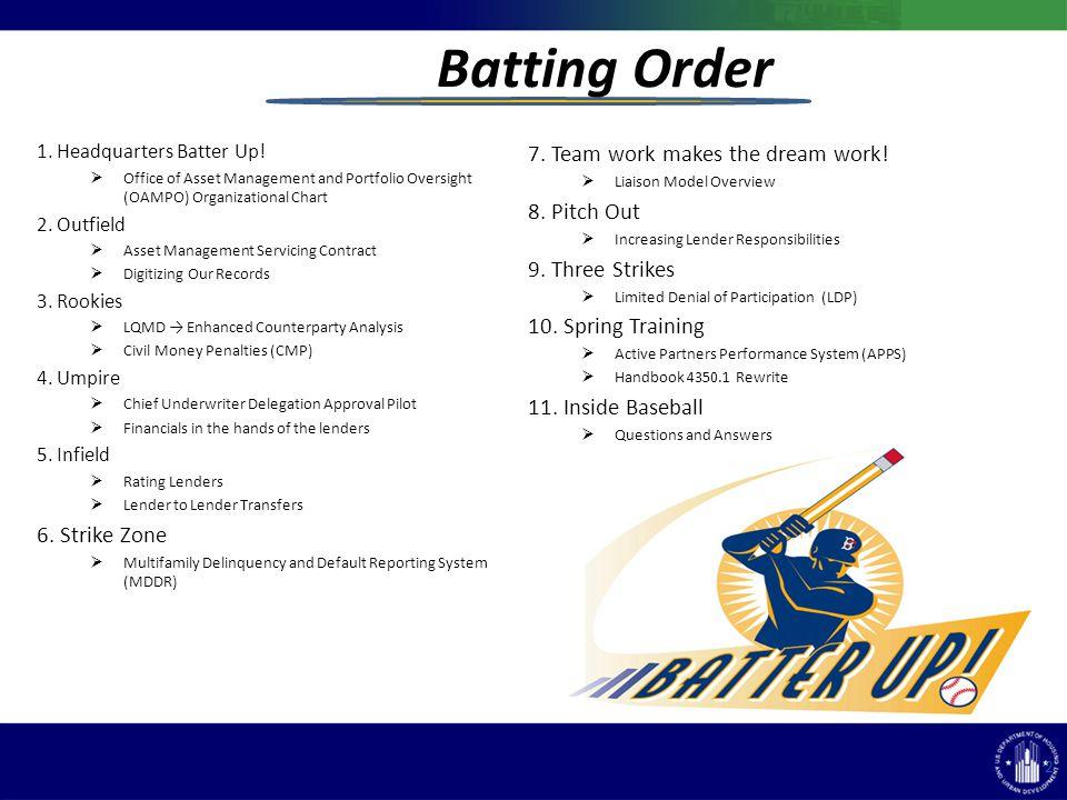 Batting Order 1. Headquarters Batter Up.