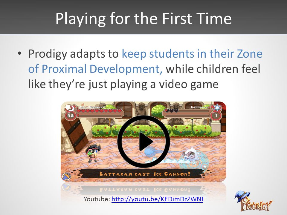 Playing for the First Time Prodigy adapts to keep students in their Zone of Proximal Development, while children feel like they're just playing a video game Youtube: http://youtu.be/KEDimDzZWNIhttp://youtu.be/KEDimDzZWNI
