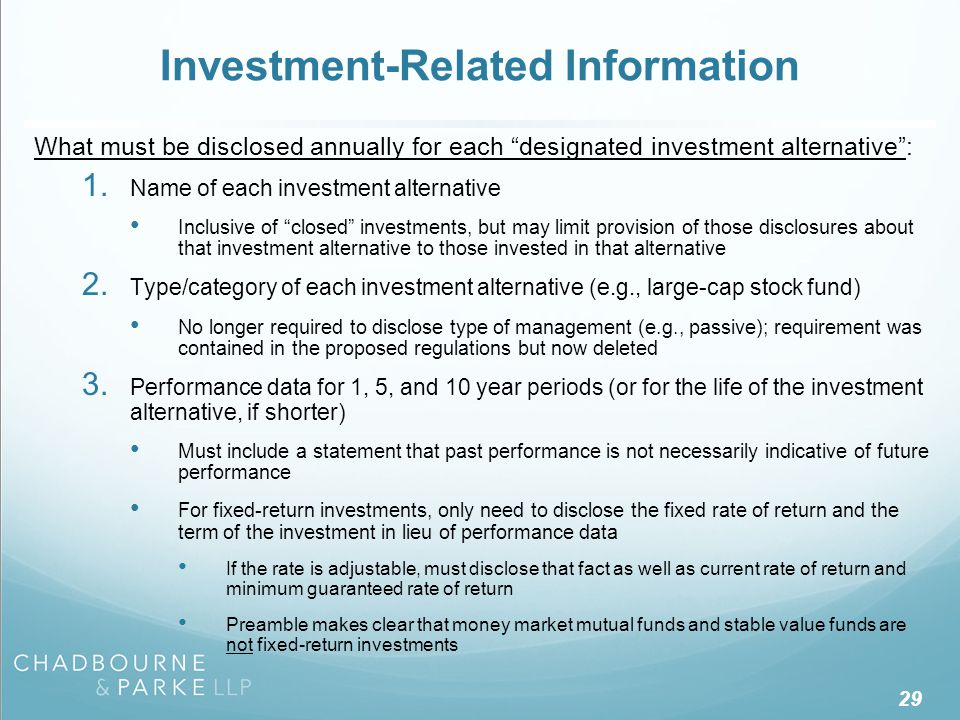 "29 Investment-Related Information What must be disclosed annually for each ""designated investment alternative"": 1. Name of each investment alternative"