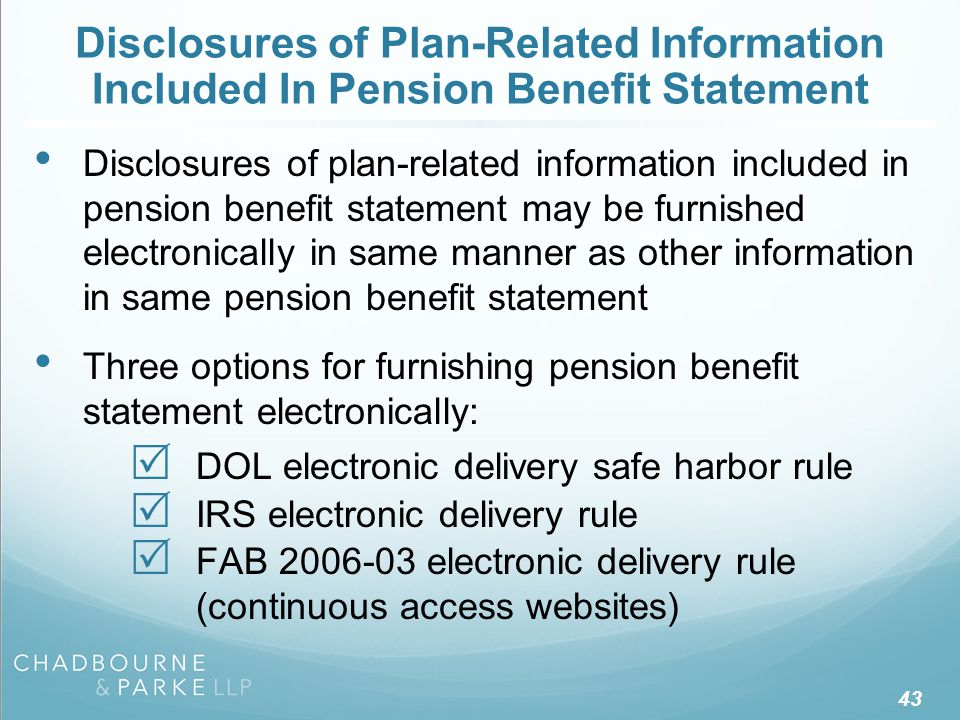 Disclosures of Plan-Related Information Included In Pension Benefit Statement Disclosures of plan-related information included in pension benefit stat
