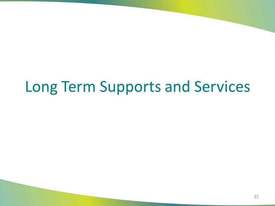 Long Term Supports and Services 21
